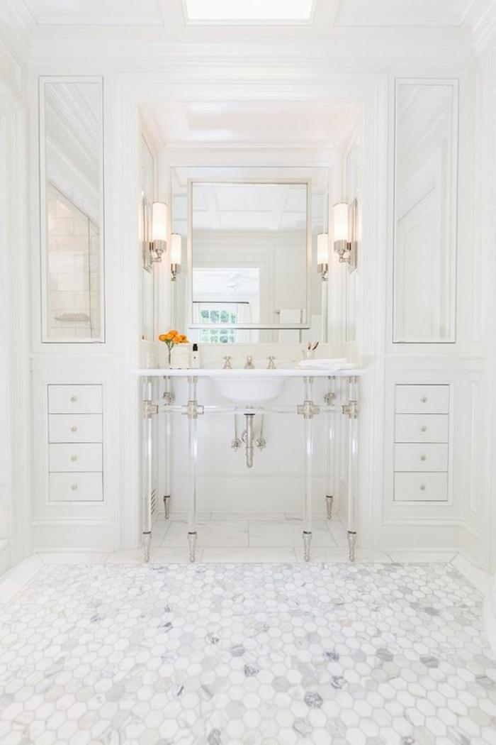 modele de salle de bain, deco salle de bain zen, modele carrelage salle de bain, salle de bain 4m2, luminaires appliques, carrelage ruches blanches et grises
