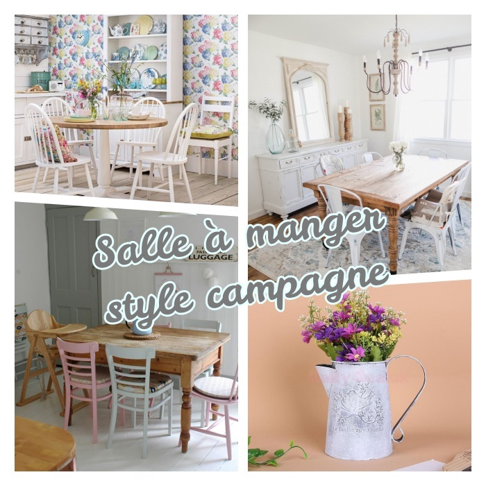 amenagement salle à manger champagne chic avec table bois brut, chaises bois dépareillées, broc ancien remplie de bouquet de fleurs champetre