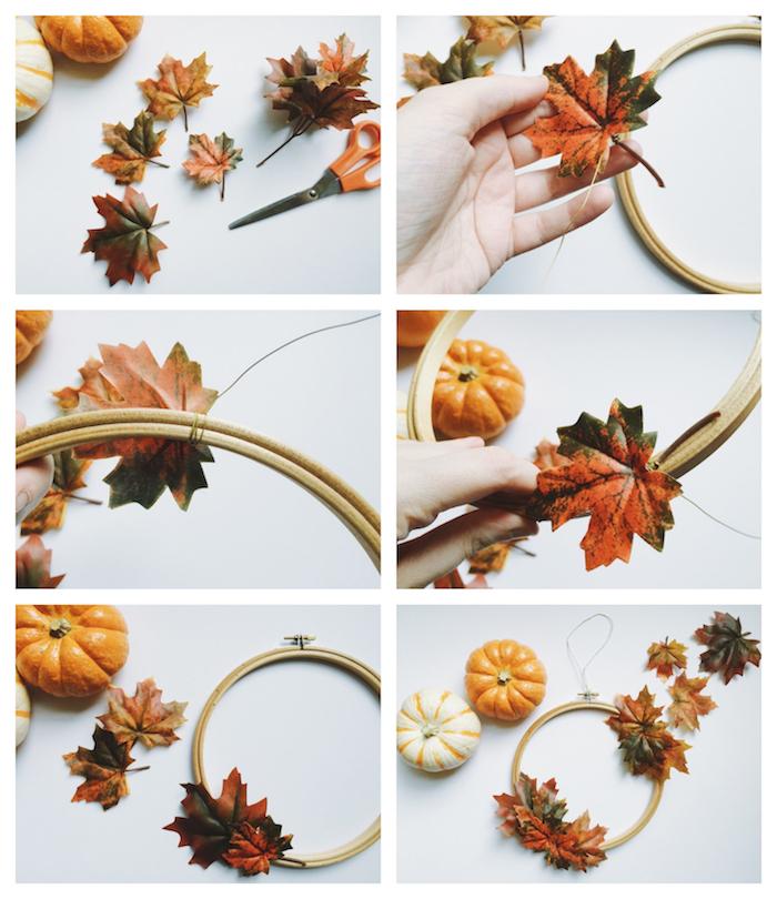 decoration automne diy en feuilles mortes attachées sur cerceau tambour à broder et mini citrouille decorative