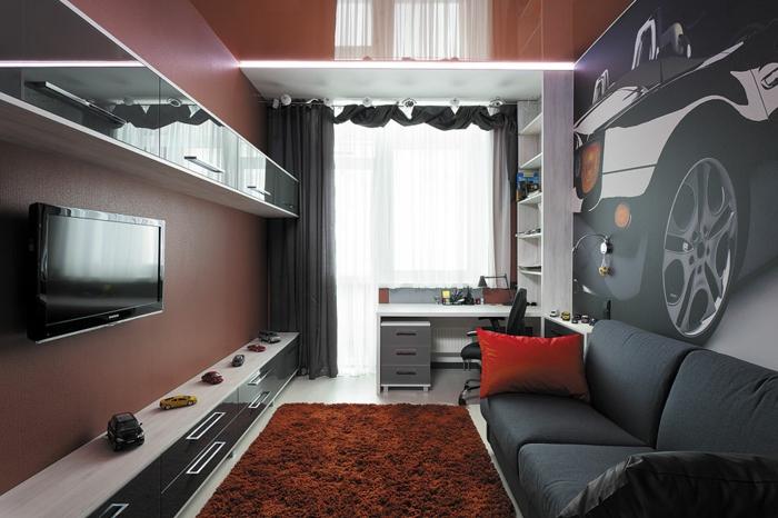 couleur peinture chambre garçon, tapis terracotta, mur aubergine, placards suspendus