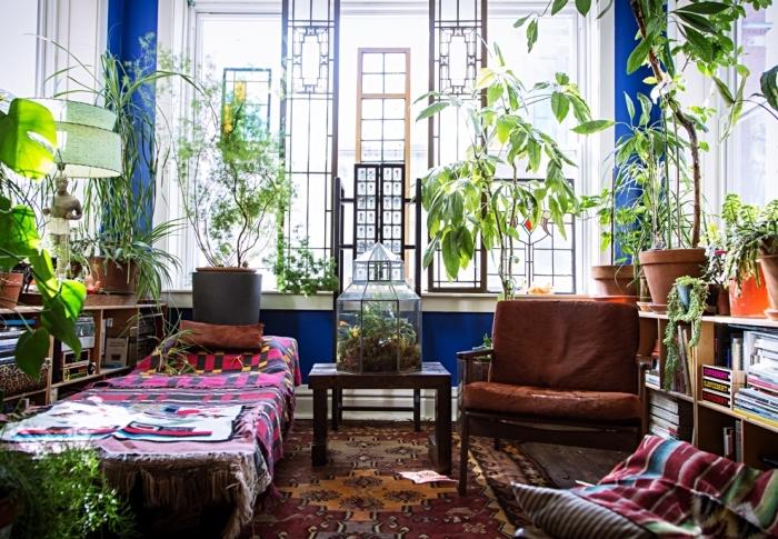 exemple de déco intérieure avec plantes, salon esprit bohème chic et bungalow avec plantes vertes et grand terrarium diy