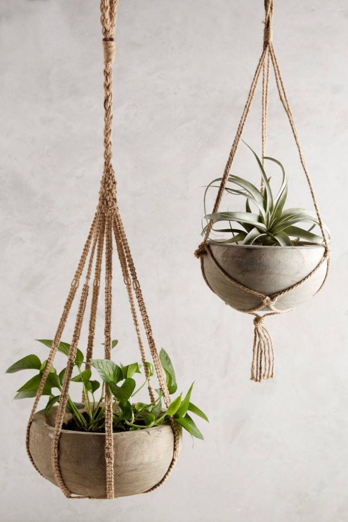 création en noeuds macramés pour plantes, modèle de suspension pour fleurs DIY fait avec corde en noeuds macramé