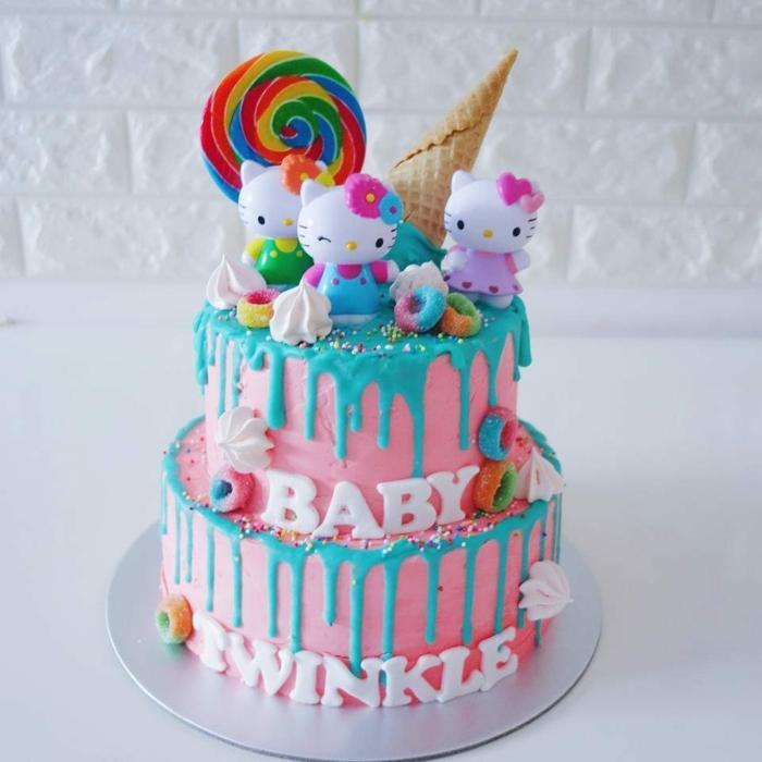 gateau rose, gateau anniversaire fille, fête de double anniversaire en bleu et rose, kitty kat
