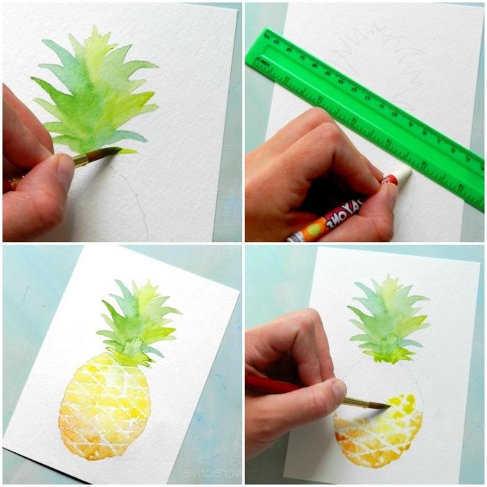 apprendre l'aquarelle avec des sujets simples et faciles à reproduire, ananas peint à l'aquarelle à quelques coups de pinceau