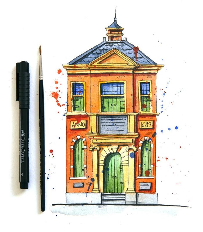 dessin peinture réalisé au stylo feutre et à l'aquarelle qui permet de réaliser un sujet avec plus plus grande présion