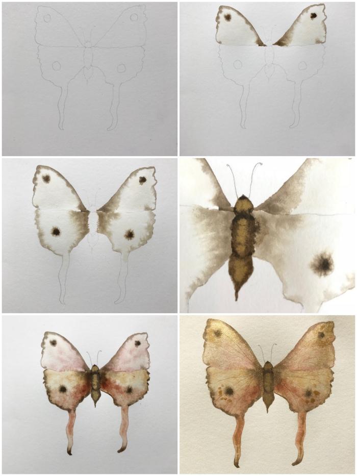 tuto aquarelle pour peindre un joli papillon doré d'une grande simplicité, peinture à l'aquarelle