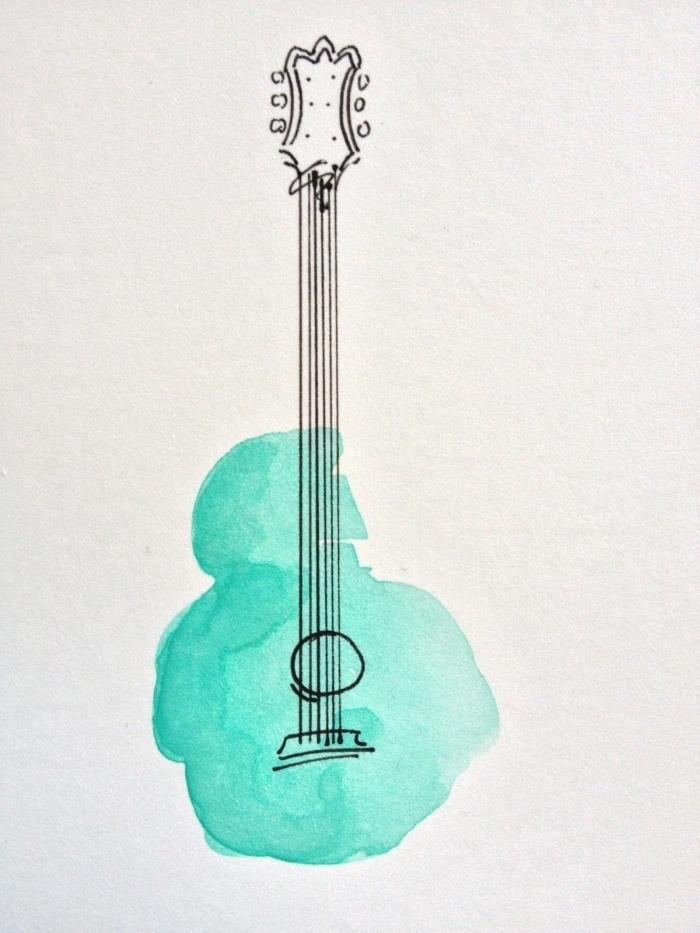 dessin aquarelle qui combine deux techniques de peinture, dessin minimaliste d'une guitare au stylo feutre colorée à l'aquarelle