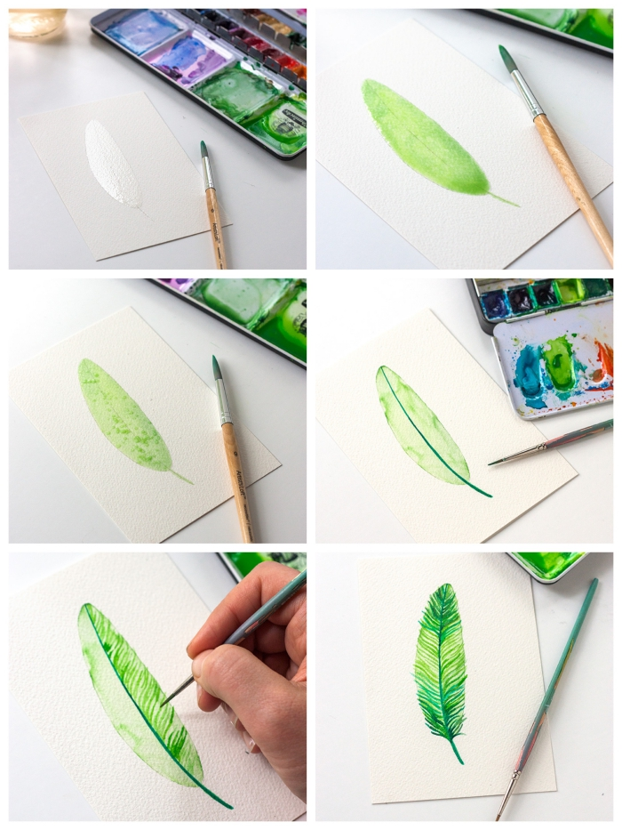 différentes techniques de couleurs pour peindre une jolie plume à l'aquarelle, tuto facile pour débuter à l'aquarelle et apprendre les techniques de base