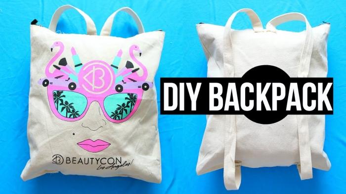 exemple de sac à main personnalisé blanc aux motifs roses maquillage et lunettes de soleil, tuto couture sac facile avec dessins pouchoir