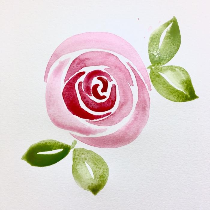 jolie rose épanouie réalisée avec quelques mouvements de pinceau