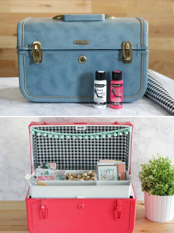 détournement objet vintage en rangement pratique et original, une valise vintage relookée en rangement
