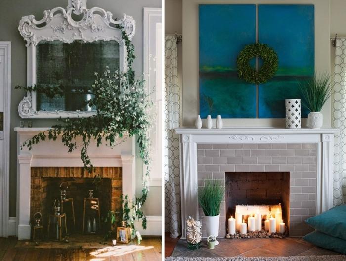 cheminée murale design simple joliment décorée, verdure, bougies, miroir cadre blanc sophistiqué