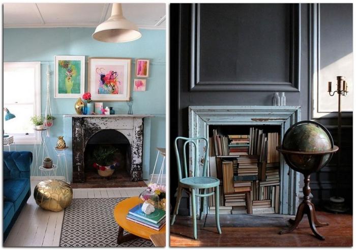 pièces bleues, pouf marocain, table basse orange, livres stockés au sein d'une cheminée et grand globe ancien