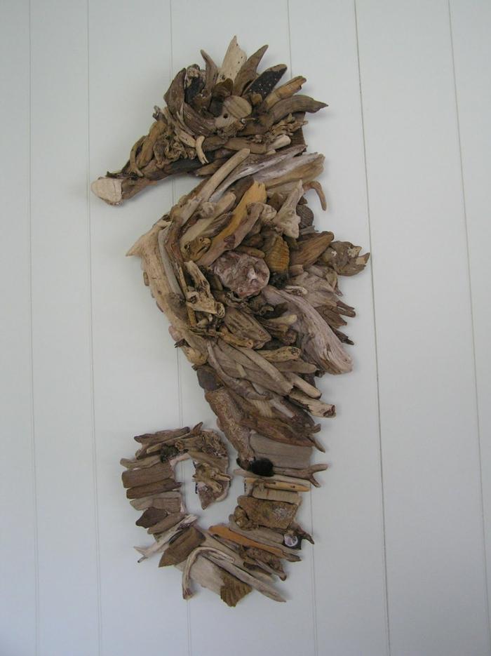 déco murale bois flotté, dragon de mer, création bois flotté originale