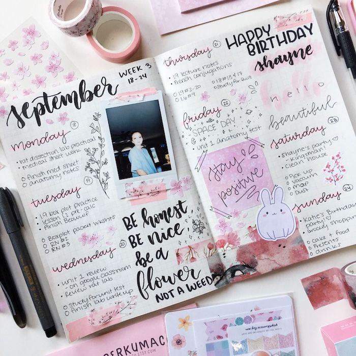 technique scrapbooking pour créer son agenda, semainier, dessins, notes, washi tape, photo, lettres calligraphiques