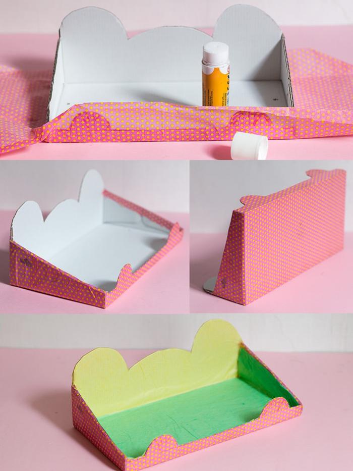 deco recup facile pour la chambre à coucher, une étagère murale suspendu en forme d'ours réalisée à partir d'une boîte à chaussures recyclée