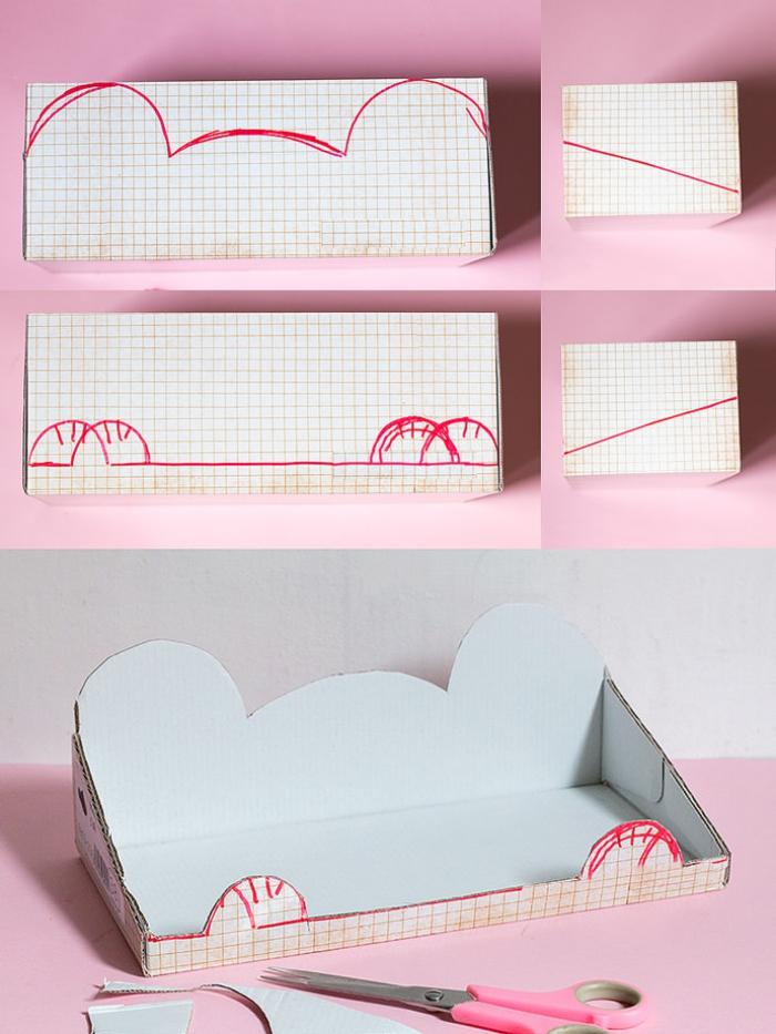 comment réaliser une étagère suspendue pour la chambre d'enfant à partir d'un objet recyclé, une boîte à chaussures détournée en étagère ours suspendue décorée avec des stickers et du papier décoratif