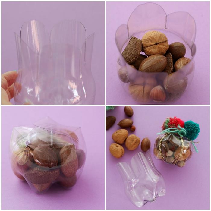 idée de bricolage facile avec objet recyclé, bouteille en plastique recyclée en boîte cadeaux originale