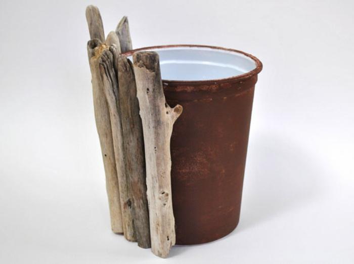 fabrication d'objets en bois flotté, deco a faire soi meme recup, pot de fleur diy