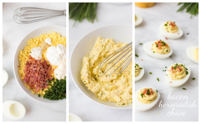 idée d amuse bouche apéritif facile, oeufs mimosa farcis de mayonnaise, creme fraiche, lard, persil et moutarde de dijon
