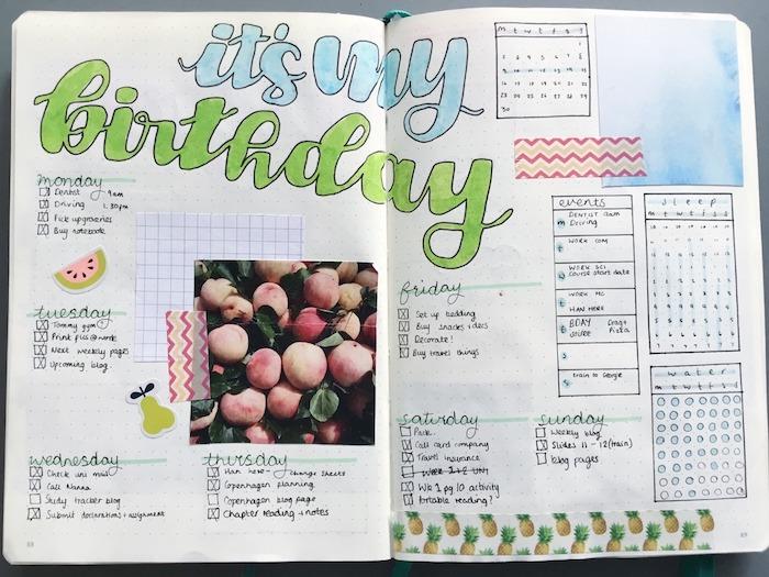 idée décoration agenda pour la semaine de son anniversaire, photos, tâches jour apr jour, wahi tape, stickers fruits, petits tableaux organisateurs