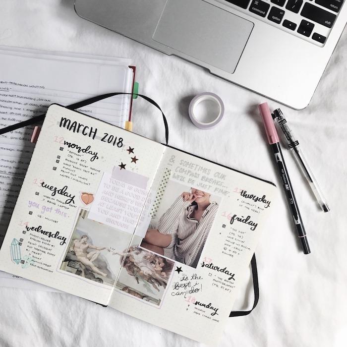 écriture calligraphie jours de la semaine tâches et évènements importants, photos, citations inspirantes, images collées