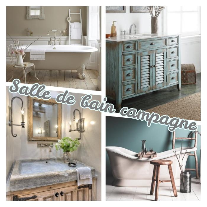 amenagement salle de bain campagne avec baignoire en fonte à poser, lavabo en pierre naturelle, meuble sdb bois brut patiné