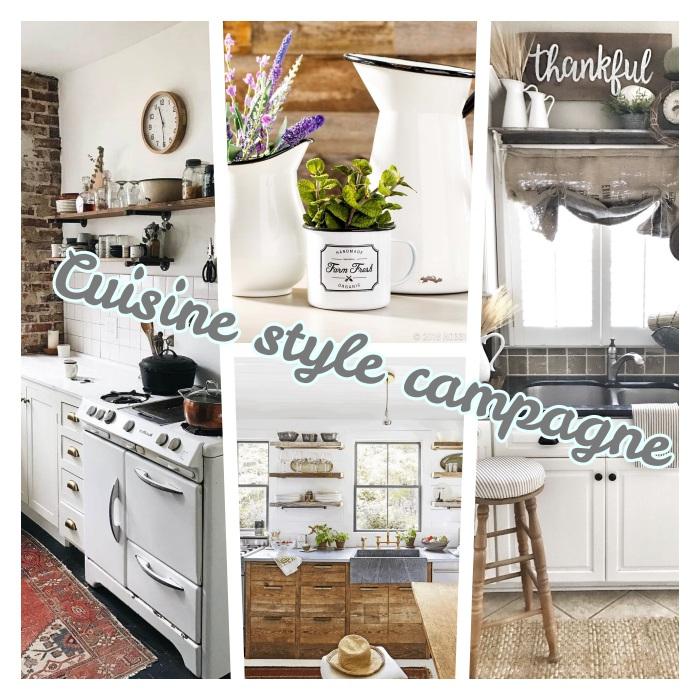 modeles de cuisine campagne chic en bois brut, meuble cuisine anciens, piano de cuisine, deco florale, étagères ouvertes bois brut