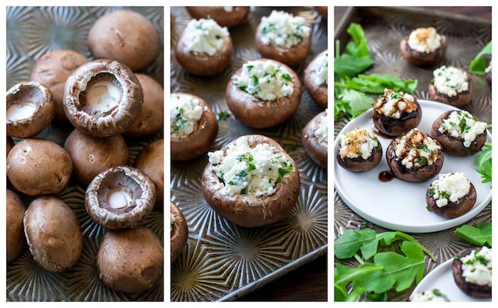 exemple d amuse bouche apéritif facile champignons farcis de fromage aux ingrédients avec du persil et réduction balsamique