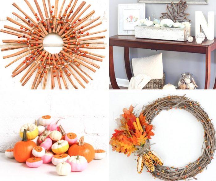 quelles sont les meilleures idées de bricolage d automne, couronnes de feuilles et brindilles, citrouilles, compositions decoratives thematiques