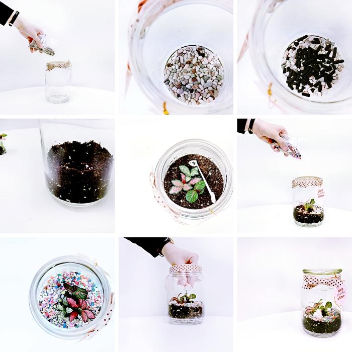 tutoriel pour apprendre à fabriquer un terrarium facile avec mini plantes, exemple comment remplir un bocal pour terrarium avec terreau et gravier