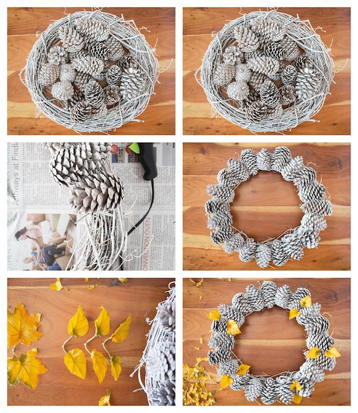 couronne de pommes de pin, idée que faire avec des pommes de pin repeintes en blanc et collées sur brindilles avec decoration de feuilles mortes artificielles