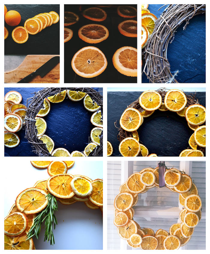 couronne de rondelles d orange séchées au four avec romarin pour créer une couronne automne