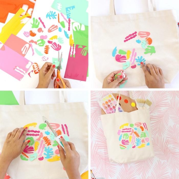 exemple de tuto sac cabas facile aux motifs multicolore, idée comment personnaliser un sac à main blanc facile