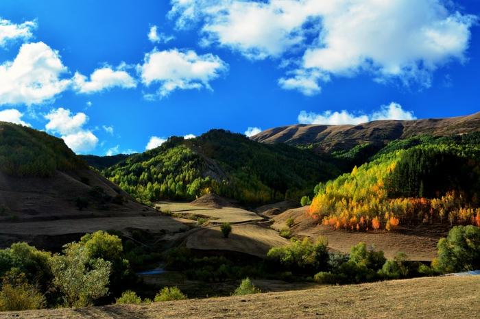 fond d'écran gratuit pour ordinateur, ciel bleu aux nuages blancs, collines et arbres