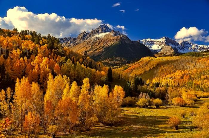 montagne aux couleurs de l'automne, nuages blancs, ciel bleu, arbres jaunes, collines, fond d'écran paysage gratuit pour ordinateur