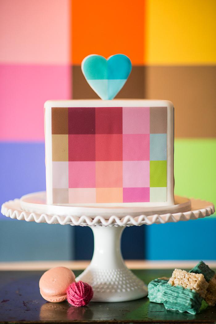 Pièce montée mariage choux, gateau de mariage, gateau de mariage original pixel forme carré, cool idée gateau de mariage coloré