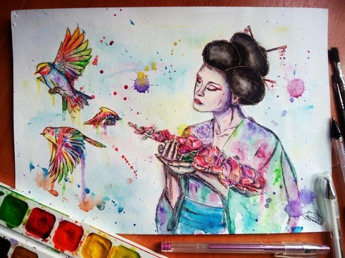 une explosion de couleurs aquarelle sur la peinture de geisha