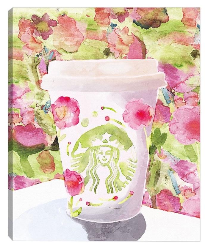 s'entraîner à l'aquarelle avec des sujets simples et facile à reproduire, gobelet de starbucks fleuri peint à l'aquarelle
