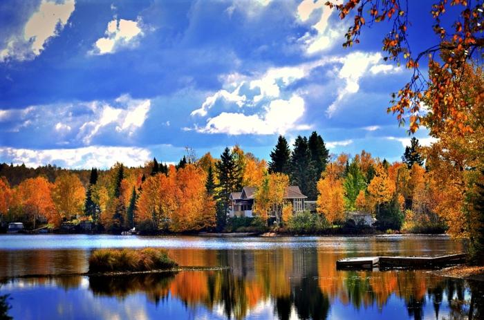 fond d'écran paysage automne, ciel bleu, nuages, jolie forêt, maison au sein des bois