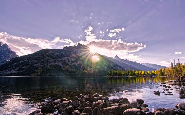 fond d'écran paysage automne, fond d'écran coucher de soleil, montagne et fleuve