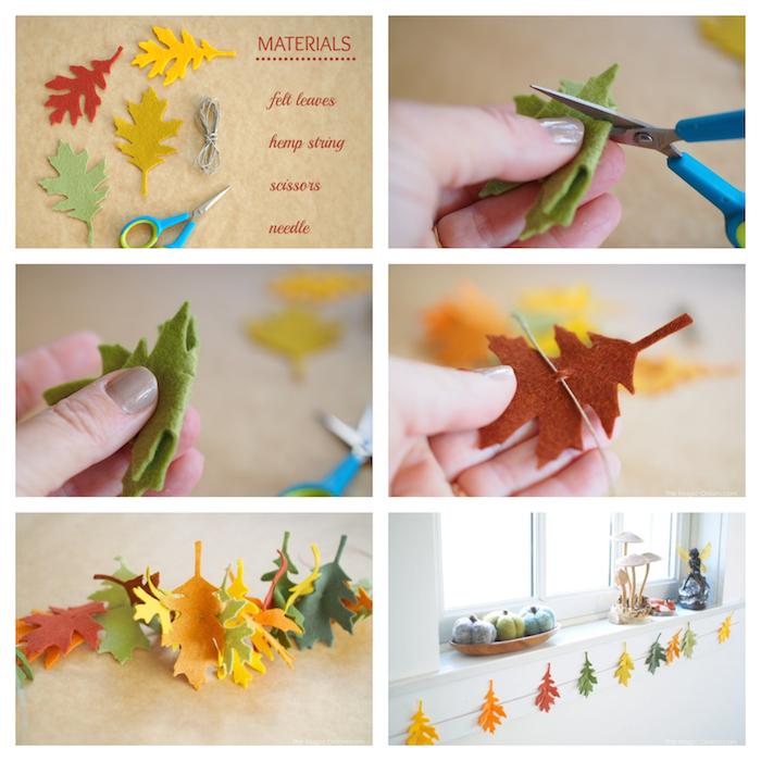 idée comment faire une guirlande en feuilles de feutrine colorées enfilées sur un cordon pour creer une deco fenetre automne