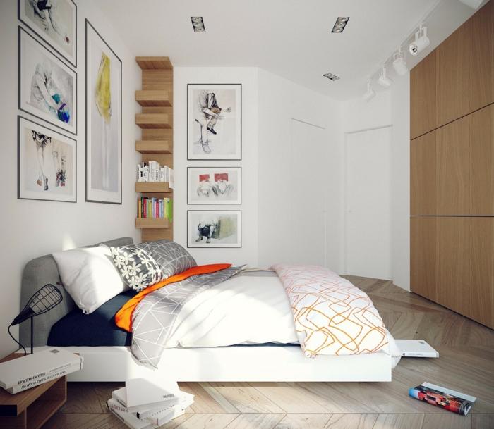 deco chambre moderne en bois et blanc, lit plateforme, sol chevrons, peinture blanche, étagère en bois