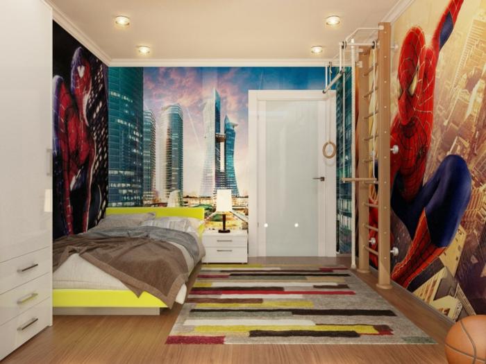 peinture chambre enfant super héros, poser mural spiderman, tapis rayures colorés
