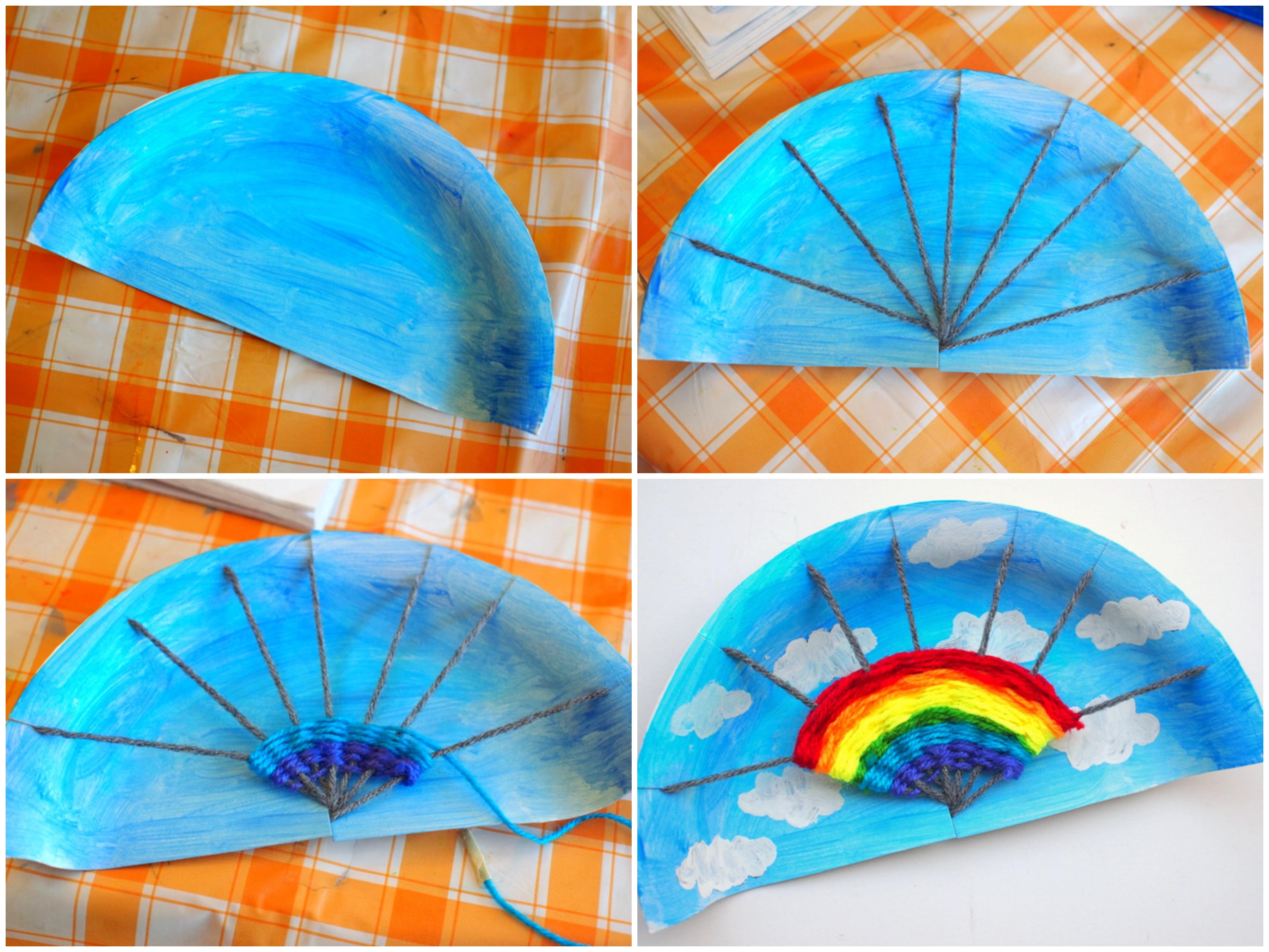 activité manuelle primaire avec des assiettes jetables arc-en-ciel, tissage sur une assiette en carton