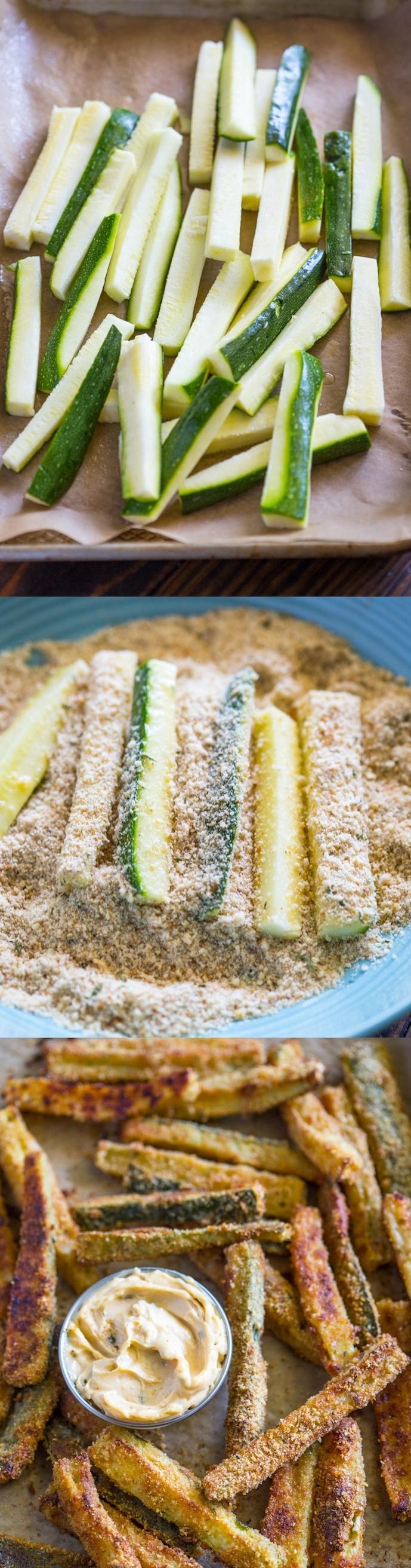 frites en courgettes avec de la chapelure panko et des oeufs avec de la sauce chipotle à servir comme amuse bouche apéritif facile