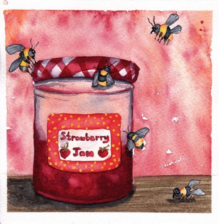 pot de confiture aux fraises et abeilles mignonnes réalisés à l'aquarelle, composition originale et facile à réaliser à l'aquarelle pour apprendre les techniques de peinture