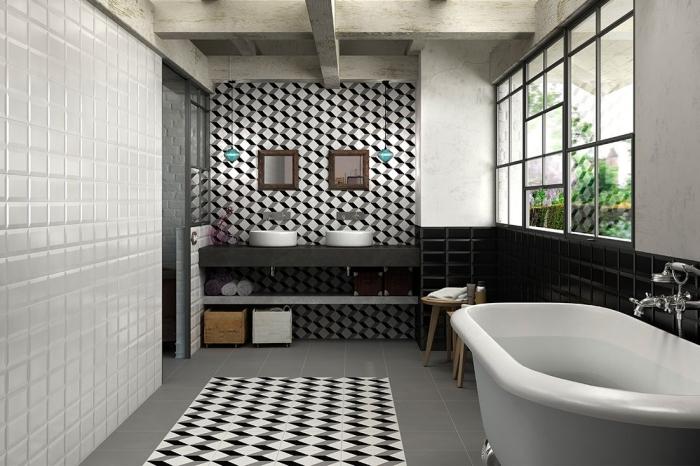 carrelage effet carreaux de ciment à motifs graphiques 3d posé au sol comme tapis décoratif et derrière les vasques