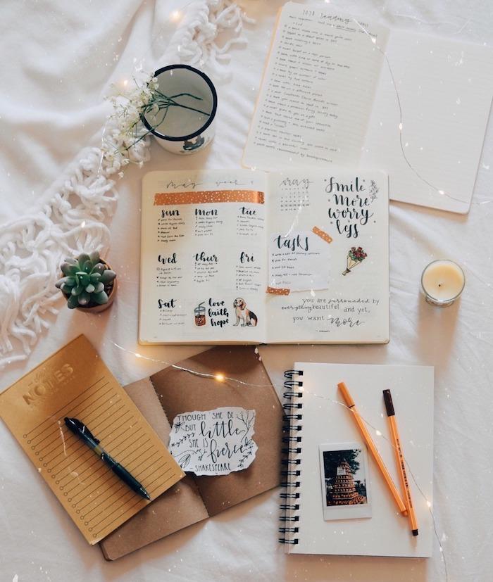 idées pour personnaliser son agenda, semainier calligraphie, dessins, ambiance cocooning avec guirlande lumineuse chambre, carnet de notes, bougie, plante succulente