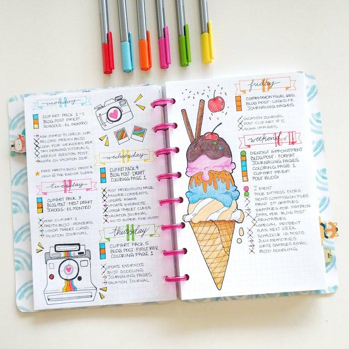 comment customiser son agenda avec dessins colorés d appareil photo, glace colorée, planning semainier simple